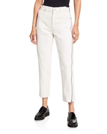 3.1 Phillip Lim Straight-Leg Cropped Jeans with Side
