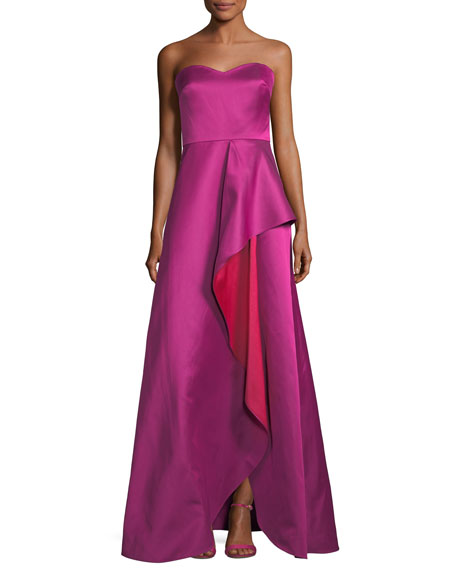 Badgley Mischka Collection Strapless Sweetheart Contrast Ruffle