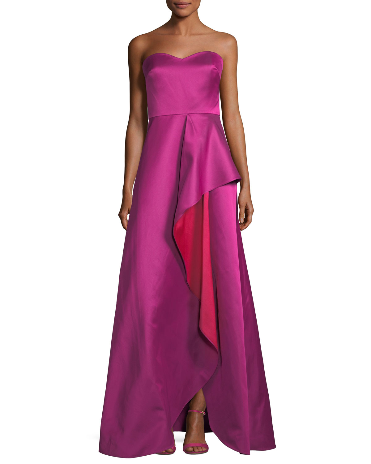 33150c3bbc51 Badgley Mischka Collection Strapless Sweetheart Contrast Ruffle Gown ...