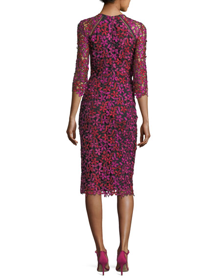Havan 3/4-Sleeve Floral Lace Cocktail Dress