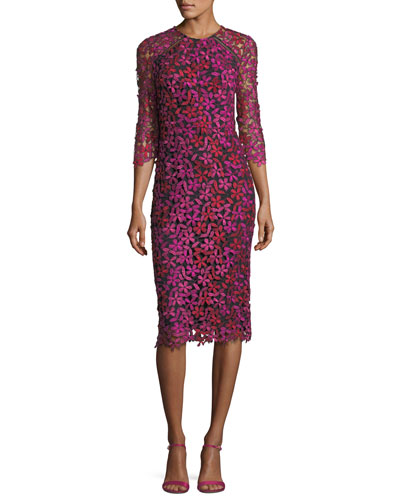 Havan 3/4-Sleeve Floral Lace Cocktail Dress