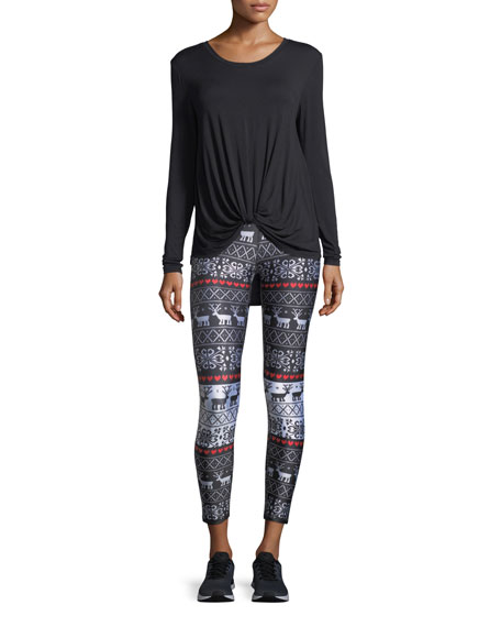 Holiday Party Foil Printed Tall-Band Performance Leggings