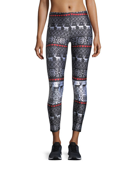 Terez Holiday Party Foil Printed Tall-Band Performance Leggings