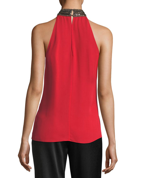 Veronica Beaded Mock-Neck Silk Halter Top