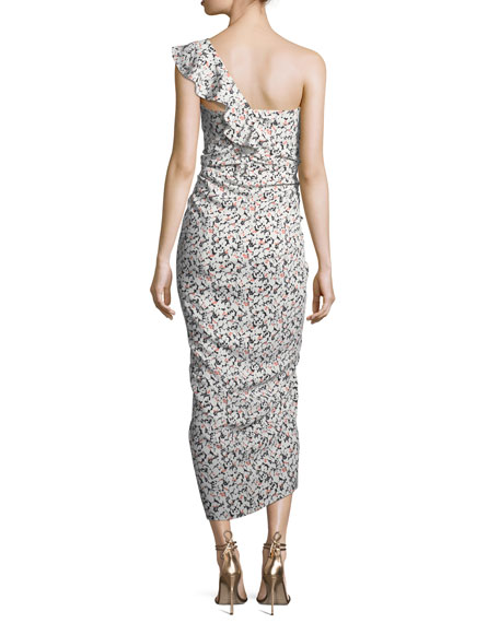Ruffian One-Shoulder Floral-Print Midi Dress