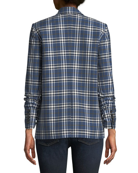 Beacon Double-Breasted Plaid Blazer