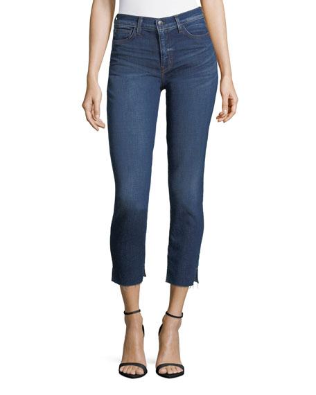 L'Agence Nicoline Slim Skinny-Leg Cropped Jeans w/ Slit