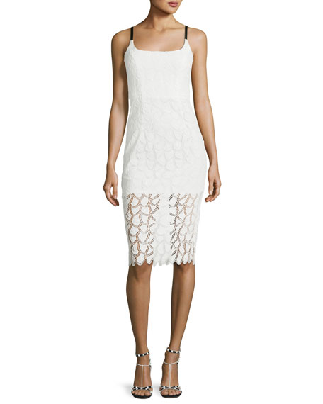 Milly Jessie Lace V-Back Sleeveless Cocktail Dress