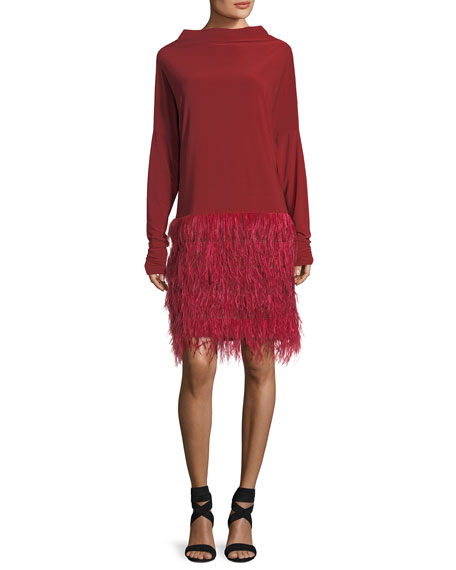 Norma Kamali Adjustable Long-Sleeve Feather Dress