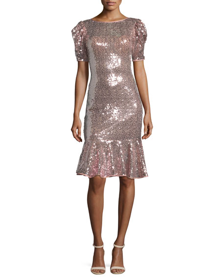 Jovani Short-Sleeve Sequin Flounce Dress