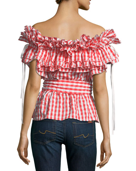 Sangria Off-the-Shoulder Ruffled Plaid Top