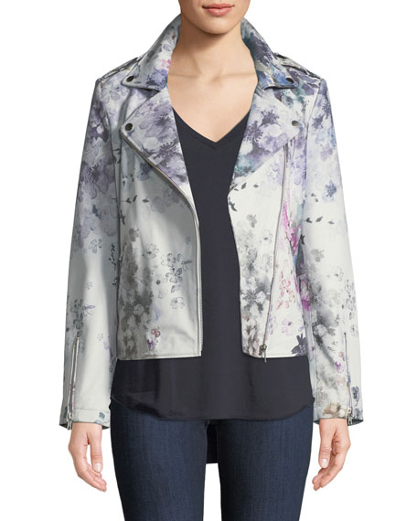 Neiman Marcus Leather Collection Leather Watercolor Floral