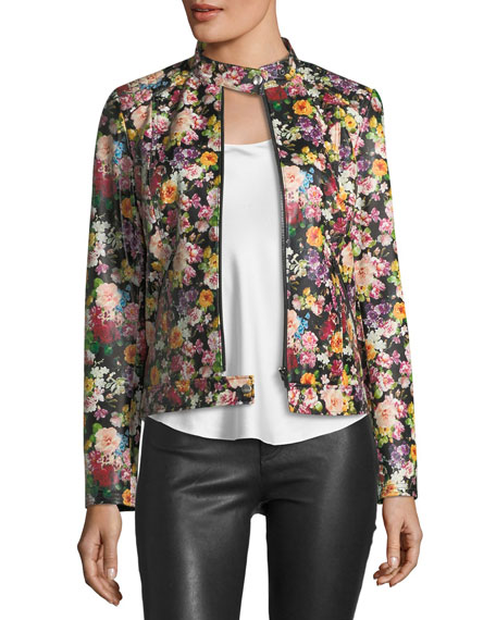 Floral-Print Leather Jacket