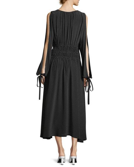 Split-Sleeve Cold-Shoulder Polka-Dot Long Silk Dress