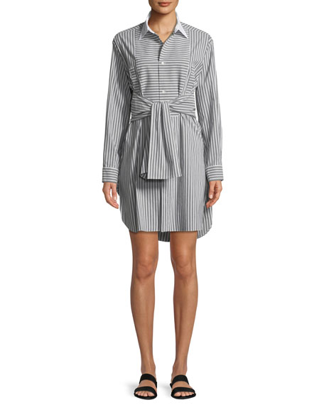 Plastron Stripe Button-Front Cotton Poplin Shirtdress
