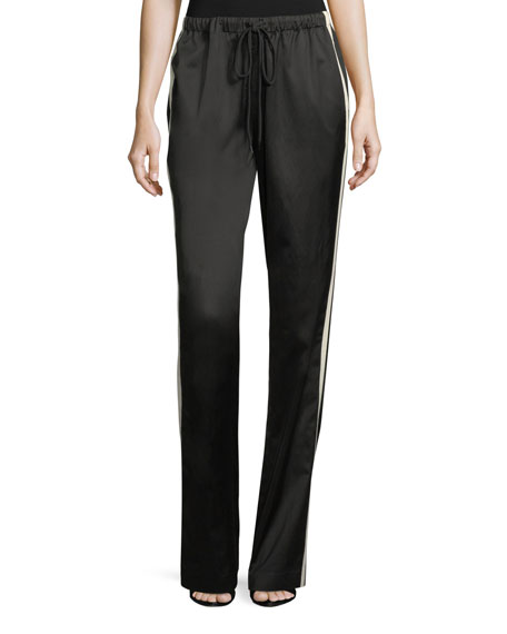 Robert Rodriguez Side-Stripe Drawstring Satin Track Pants