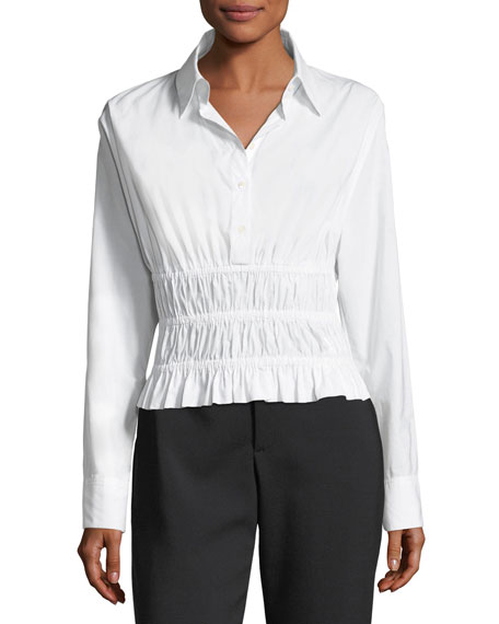 Shirred-Waist Long-Sleeve Cotton Poplin Shirt