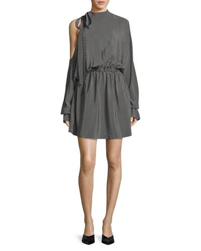 Star-Print Dolman-Sleeve Silk Short Dress
