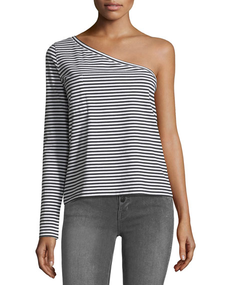 One-Shoulder Long-Sleeve Striped T-Shirt