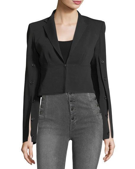 Button-Sleeve Crepe Cropped Jacket