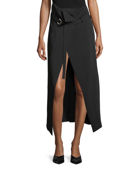 High-Waist Belted Crepe Wrap Skirt