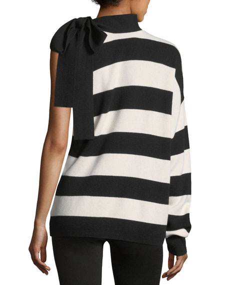 Striped One-Shoulder Wool-Cashmere Pullover Sweater