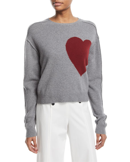 Robert Rodriguez Heart Crewneck Wool-Cashmere Pullover Sweater