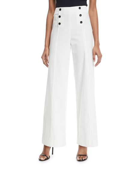 High-Waist Wide-Leg Poplin Pants