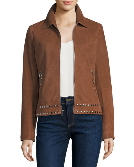 Neiman Marcus Leather Collection Suede Zip-Front Studded Jacket