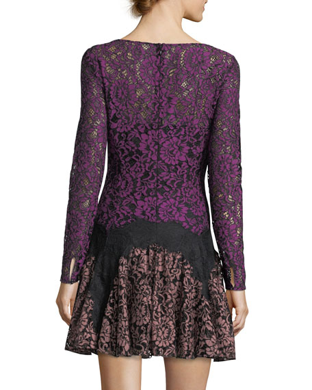 Dory Long-Sleeve Lace A-Line Mini Cocktail Dress
