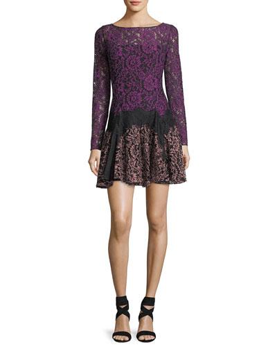 Dory Long-Sleeve Lace A-Line Mini Cocktail Dress