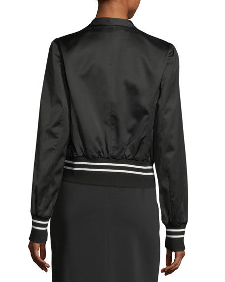 Double-Breasted Satin Track Jacket with Rib