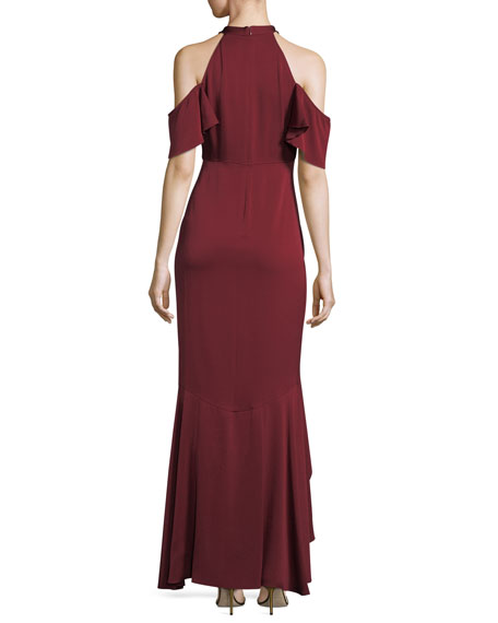Montrose High-Low Ruffle Cold-Shoulder Gown