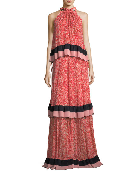 Derek Lam 10 Crosby Sleeveless Tiered Floral-Print Maxi