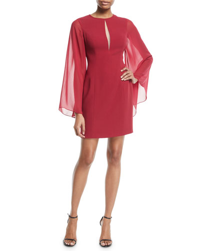 Chiffon Long-Sleeve Center-Cutout Mini Dress