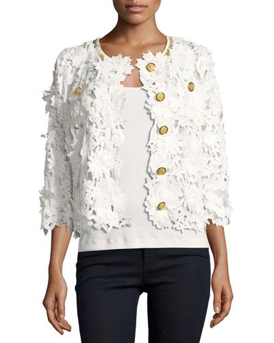 Petite Floral Crochet Jacket