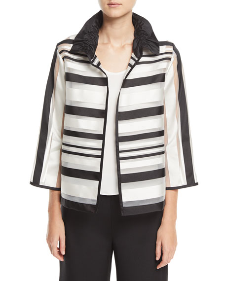 Caroline Rose Ruched Satin-Striped Organza Jacket, Plus Size