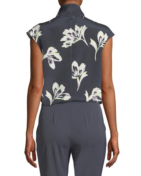 Falling Flower Self-Tie Silk Top