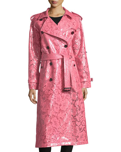 Laminated Lace Trench Coat
