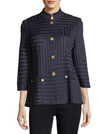 Petite Subtle Lines 3/4-Sleeves Jacket