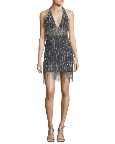 Jovani Deep V-Neck Embellished Fringe Mini Dress