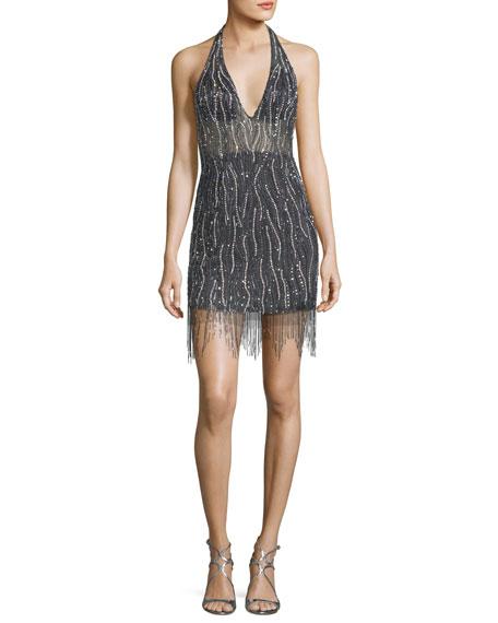 Deep V-Neck Embellished Fringe Mini Dress