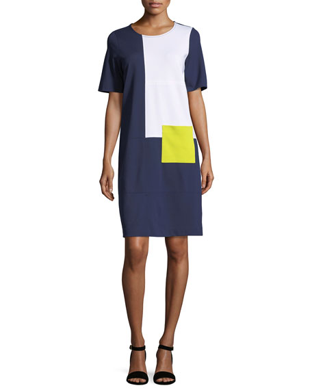 Joan Vass Colorblock Short-Sleeve Pocket Dress, Petite