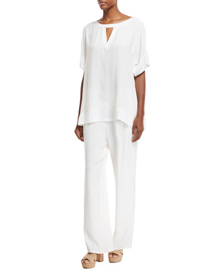Silk Crepe Easy Contrast-Trim Pants