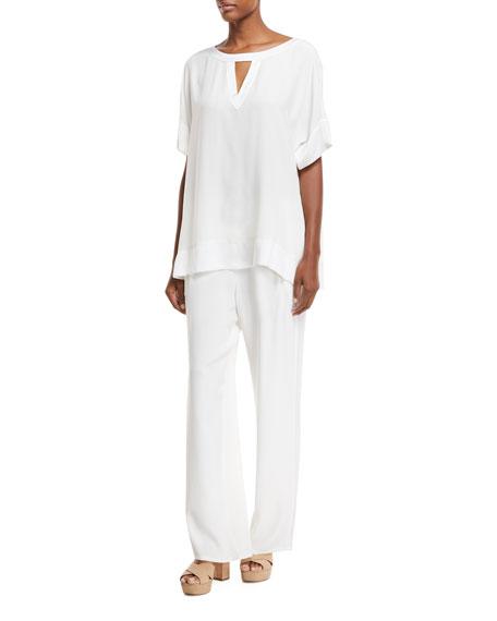 Silk Crepe Easy Contrast-Trim Pants, Petite