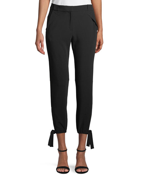 Halston Heritage Slim-Fit Ankle-Tie Pants