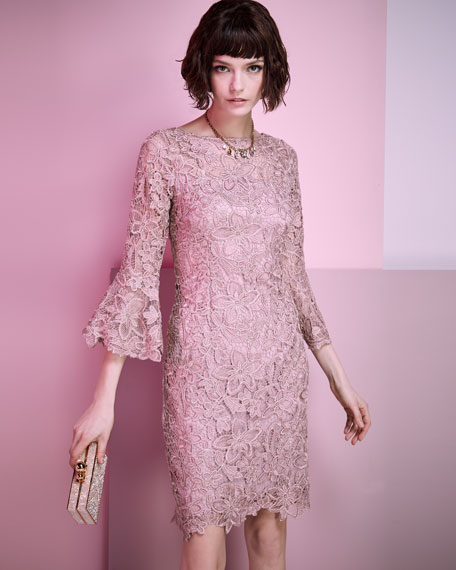 Lace Trumpet-Sleeve Sheath Cocktail Dress