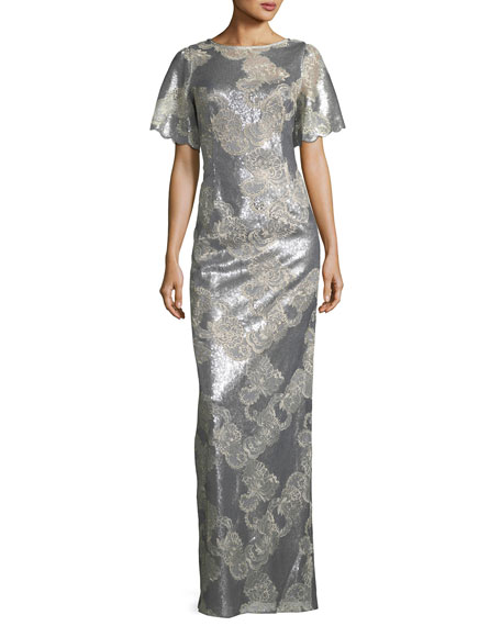 Metallic Floral Scoop-Back Gown
