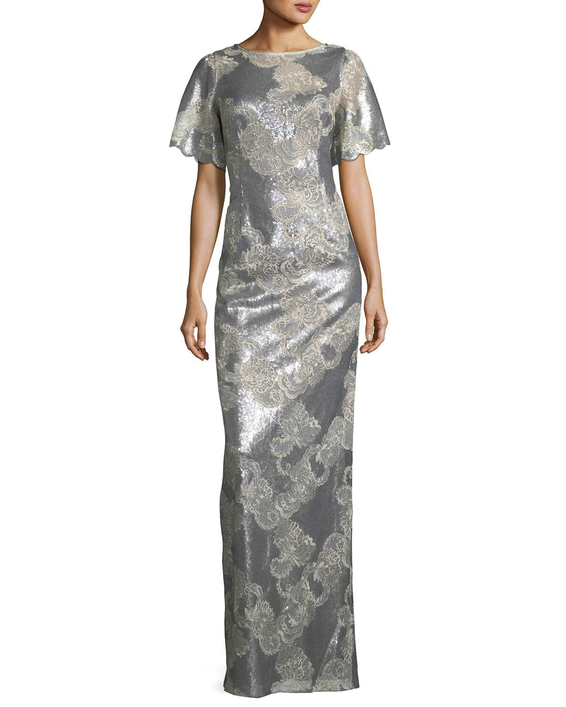 Rickie Freeman for Teri Jon Metallic Floral Scoop-Back Gown | Neiman ...