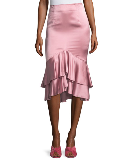 Anissa Fitted Satin Midi Skirt with Ruffled Hem